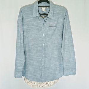 AMERICAN RAG Blue Button Down Shirt with Crochet